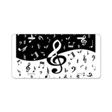 Stylish random musical notes Aluminum License Plat