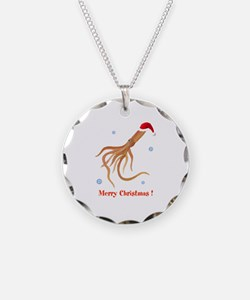 Personalized Christmas Squid Necklace Circle Charm