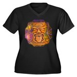 Tiki God Women's Plus Size V-Neck Dark T-Shirt