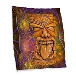 Tiki God Burlap Throw Pillow