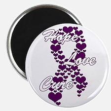 Peace Love Cure Yudu Purple Magnet