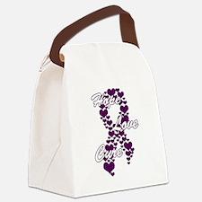 Peace Love Cure Yudu Purple Canvas Lunch Bag