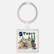 Dogs 5th Birthday Square Keychain