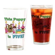 5th Puppy Birthday Drinking Glass