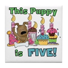 5th Puppy Birthday Tile Coaster