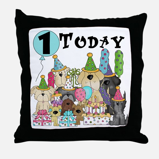 Dogs 1st Birthday Throw Pillow