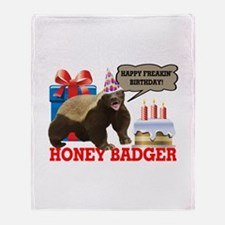 Honey Badger Happy Freakin' Birthday Throw Blanket