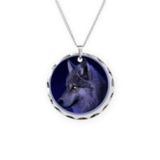yule wolf Necklace Circle Charm