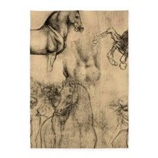 Leonardo da Vinci' Horse 5'x7'Area Rug