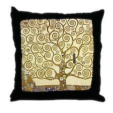 Tree of Life by Gustav Klimt Throw Pillow