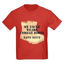 Navy Niece Uncle Desert Combat Boots T-Shirt