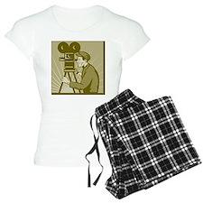 Vintage movie film camera a Pajamas