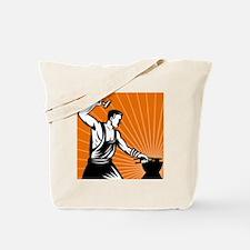 blacksmith working striking with hammer Tote Bag