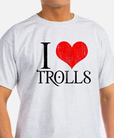 I Love Trolls Ash Grey T-Shirt