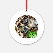 SquirrelinaTreeCircleRock Round Ornament