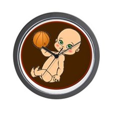 baby with basketball Wall Clock