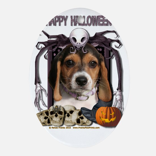 HalloweenNightmare_Beagle_Puppy Oval Ornament