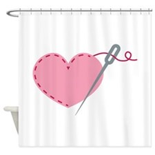 Cute sewing needle love heart Shower Curtain