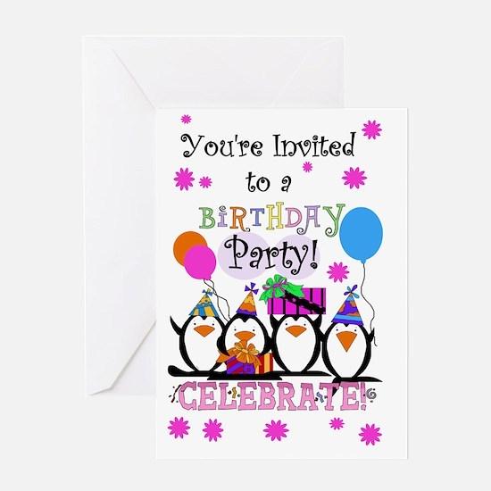 sillypenguinsinvite Greeting Card