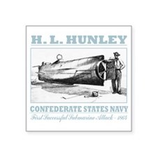 "HL Hunley (B) Square Sticker 3"" x 3"""