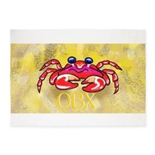 crabby on yellow OBX M 5'x7'Area Rug
