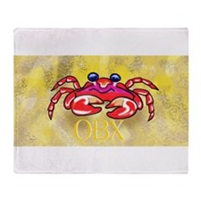 crabby on yellow OBX M Throw Blanket