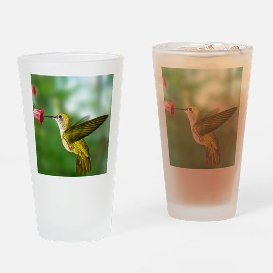 Hummingbird in flight Drinking Glass
