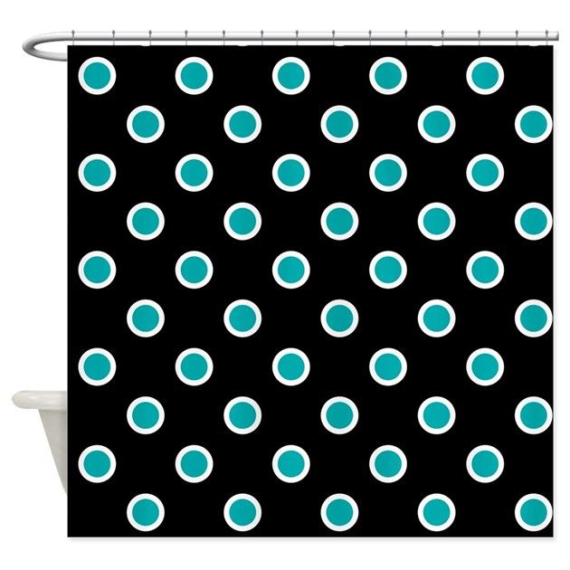 Turquoise Dots On Black Shower Curtain By Listing Store 1053336