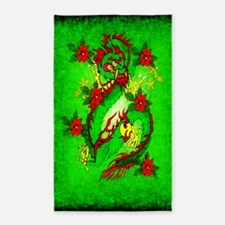 Green Dragon Red Flowers 3'x5' Area Rug