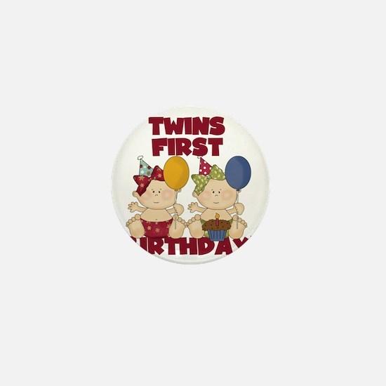 Twin Girls First Birthday Mini Button