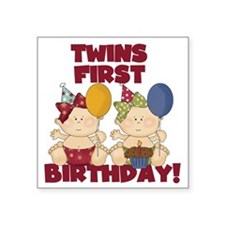 "Twin Girls First Birthday Square Sticker 3"" x 3"""