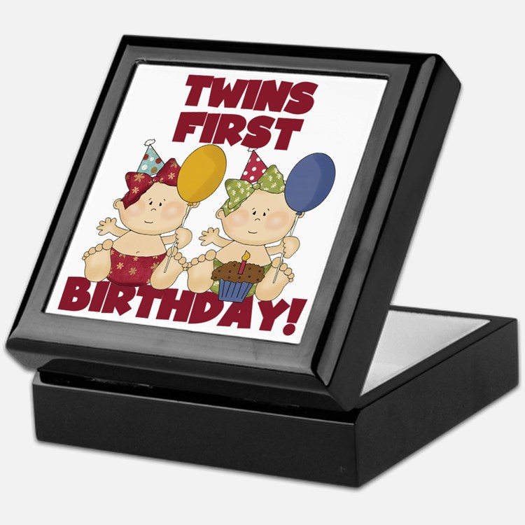 Twins First Birthday Keepsake Boxes, Twins First Birthday