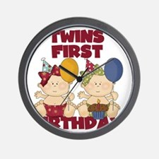 Twin Girls First Birthday Wall Clock