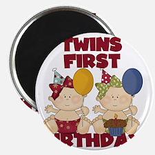Twin Girls First Birthday Magnet