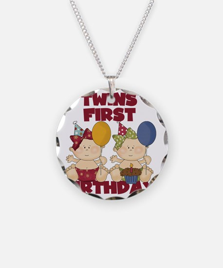 Twin Girls First Birthday Necklace