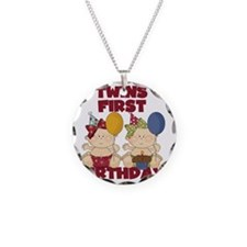 Twin Girls First Birthday Necklace Circle Charm