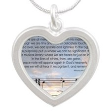 Grace Note Mousepad Silver Heart Necklace
