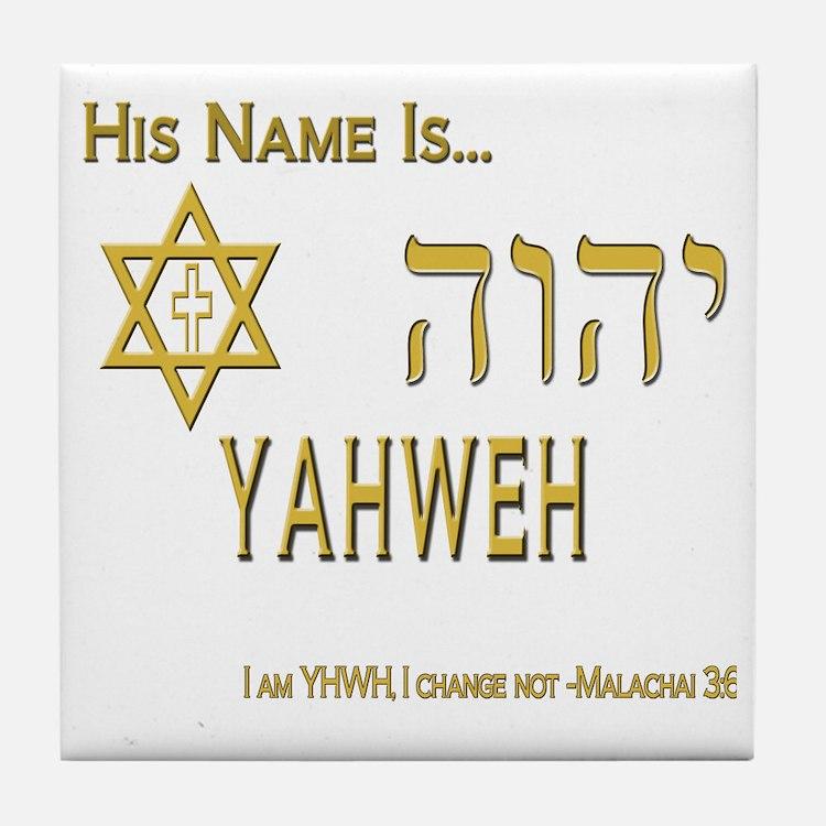 YHWH Shirt 2 Tile Coaster