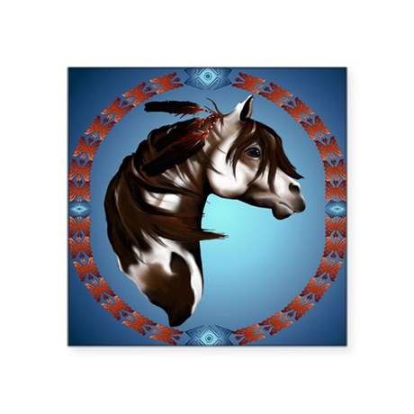 """Feathered Paint Horse-Circl Square Sticker 3"""" x 3"""""""