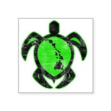 "greenhiislandturtle4-1-082 Square Sticker 3"" x 3"""