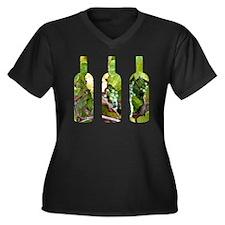 winebottles Women's Plus Size Dark V-Neck T-Shirt