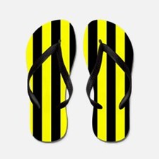 Yellow And Black Stripes Flip Flops