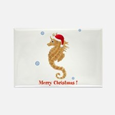 Personalized Christmas Seahorse Rectangle Magnet