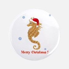 """Personalized Christmas Seahorse 3.5"""" Button"""