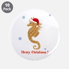 """Personalized Christmas Seahorse 3.5"""" Button (10 pa"""