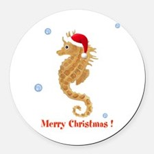 Personalized Christmas Seahorse Round Car Magnet