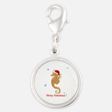 Personalized Christmas Seahorse Silver Round Charm