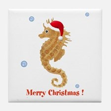 Personalized Christmas Seahorse Tile Coaster