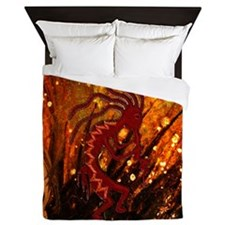Kokopelli and Fireflies Queen Duvet