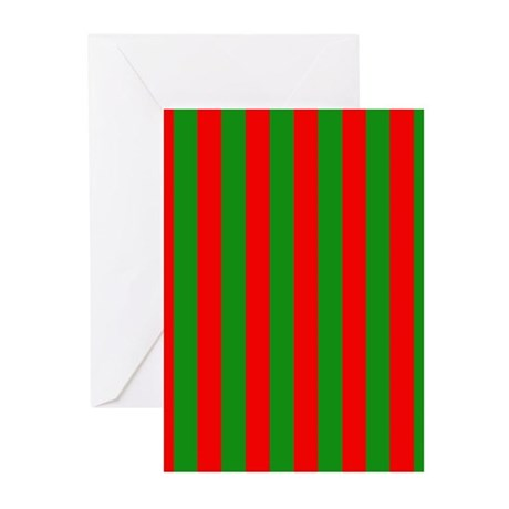 Red And Green Stripes Greeting Cards